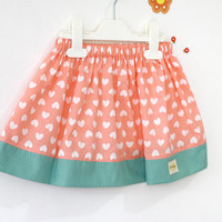 coral and mint valentine heart skirt, baby skirt, girl's skirt, kid's fashion, heart skirt