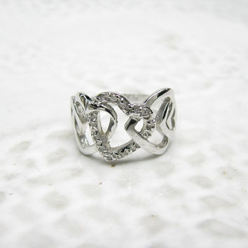 Vintage Sterling Silver Diamond Heart Ring