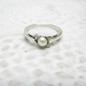 Vintage Sterling Silver Pearl Cubic Zirconia CZ Ring