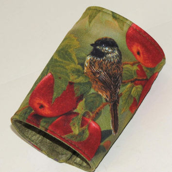 Wrist Wallet, Zippered Wrap Cuff, Hands-free, Secure, Bluebird and Pears