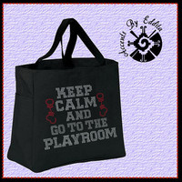 Rhinestone Keep Calm and go to the PLAYROOM with Handcuffs Tote Bag (your choice of color) Inspired by Fifty Shades