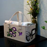 Multi Use Storage Tote With Flowers and Butterflies