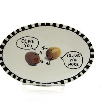 Valentine's Day Gift, Olive You, Olive You More, dish change tray key holder gift for him