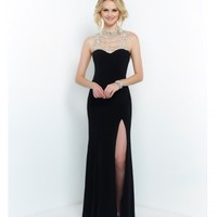 Blush Prom Black Hollywood Glam Beaded Neck Low Back Gown Prom 2015