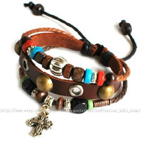 punk rock Bracelet women bracelet bangle bracelet Cuff made of real Leather and ropes ,tibetan silver ,wood beads metal bracelet SH-0722