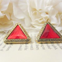 Vintage Tribal Gold And Red Earring.. on Luulla