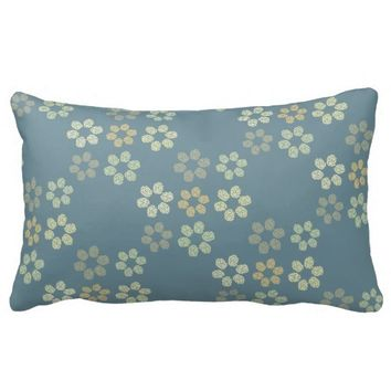 Elegant geometric daisies pattern, grey decorative lumbar pillow
