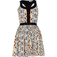 brown aztec print cut out skater dress