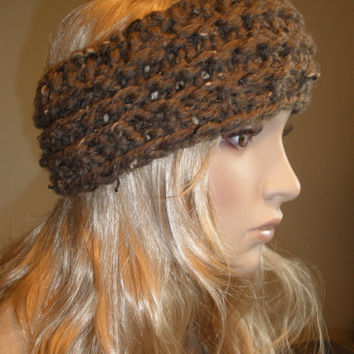 Woodsy Brown Chunky Fall Hand Knit Ribbed Headband Headwrap Earwarmer