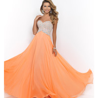 Dreamsicle Orange Strapless Sweetheart Beaded Bodice Chiffon Gown