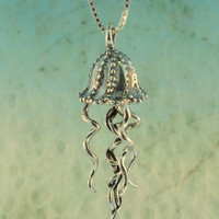 Silver Jellyfish Charm Pendant