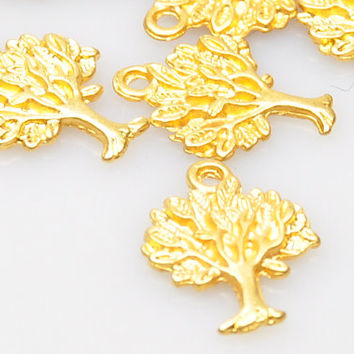 5 Pieces Gold Plated Tree Charms, Matte Gold Tree Charms , Jewelry Making Supply, Jewelry Findings