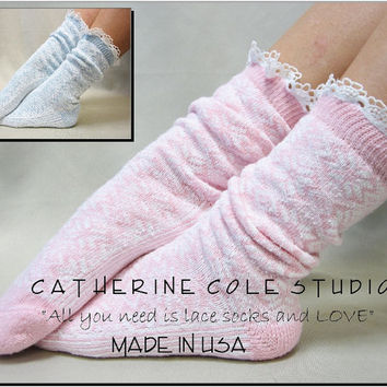 NEW snowflake slipper socks PINK or BLUE Super thick great for stocking stuffers Christmas gifts  Holiday made in usa CatherineCole Studio