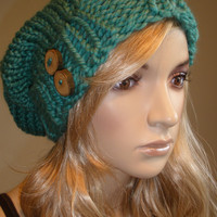 Caribbean Sea Blue Green Slouchy Hand Knit Oversized Ribbed Beanie Hat With Wood Buttons