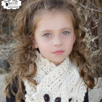 Cream Cabled Knit Buttoned Cowl - Custom Order Color, Hand Knit, Cabled, Winter Cowl, Knit, Buttoned, Women, Girls, Chunky Cowl,