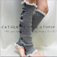 NEW SILVER  grey Button down venise IVORY lace edged leg warmers women great with or without boots Catherine Cole Studio lace legwarmers