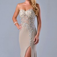 Beaded Slit Gown by Nina Canacci