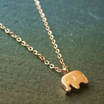 Tiny Adorable Small Elephant Necklace in 18K Rose Gold Plate