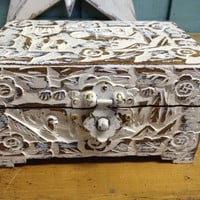 White Carved Jewelry Box Vintage Treasure Chest Box by CastawaysHall