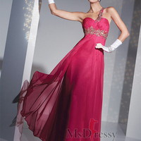 A-line One Shoulder Floor-length Chiffon Popular Prom Dress with Beading at Msdressy