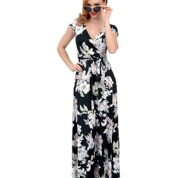 1970s Style Black Floral Print Short Sleeve Maxi Dress