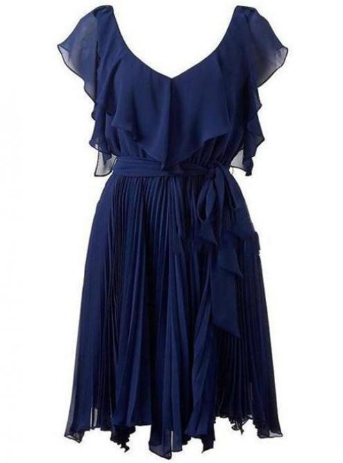 Elegant Flouncing Fold Blue Dress$64.00