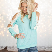 Mint Open Lace Shoulder Top