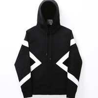 Mens Contrast Geomatric Neoprene Jersey Hoodie at Fabrixquare