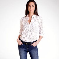 Long-Sleeved Fitted Broderie Anglaise Shirt