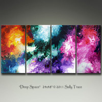Commissioned Original Painting after Deep Space, 24x48 inch Abstract 4 canvas painting by Sally Trace