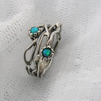 Sterling silver & Opals organic design ring (sr-9906)