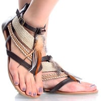 Brown Feather Boho Tribal Gladiator Open Toe Sandal Womens Flat Shoes