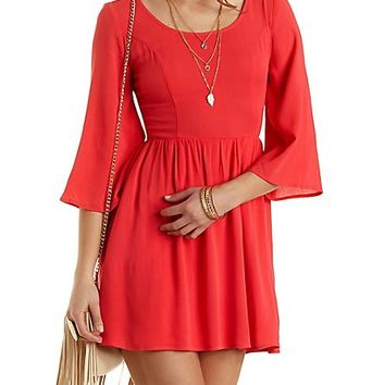 Crocheted Cross-Back Babydoll Dress by Charlotte Russe - Pink