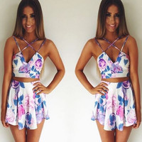 Purple Front-Crossed Two Piece