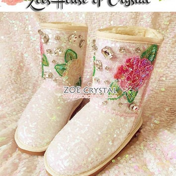 New Year Sales 20% off - Bling and Sparly Beige Winter BOOTS with Sequins and Rhinestone Rose