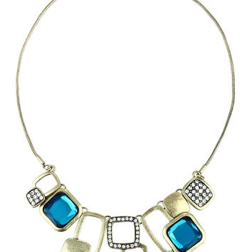 Deep Turquoise Rhinestone Surreal Squares Statement Necklace - Deep Turquoise Rhinestone Surreal Squares Statement Necklace