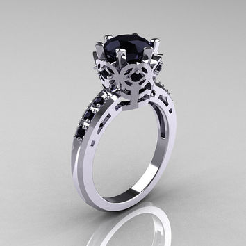 Modern Classic 10K White Gold 1.5 Carat Black Diamond Crown Engagement Ring AR128-14KWGBDD