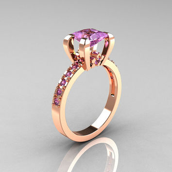 Classic French 10K Pink Gold 1.0 Carat Princess Lilac Amethyst Solitaire Engagement Ring AR125-10PGLAA