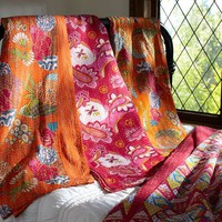 Kantha Cloth Coverlet, Warm