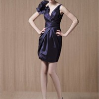 Short Column V-neck with Ruffles Empire Satin Prom Dress PD1341 Dresses UK