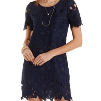 Short Sleeve Lace Shift Dress by Charlotte Russe - Navy