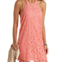 Lace Halter Shift Dress by Charlotte Russe - Blush