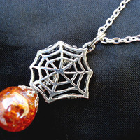 Spider Web Halloween Orange Crackle Glass Marble Necklace