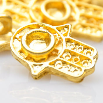 4 Pieces Gold Plated Hamsa Charms, Matte Gold Hand of Fatima Charms, Jewelry Findings, Jewelry Making Supply