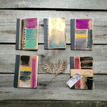 Purple & black traveller's notebook with original painting of abstract watercolour