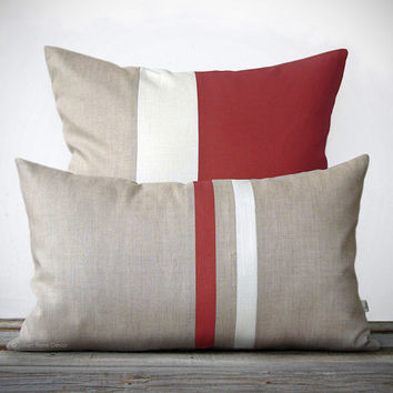 MARSALA Pillow Set (12x20) Stripe and (20x20) Color Block  by JillianReneDecor - Modern Home Decor - 2015 Pantone Color of the Year