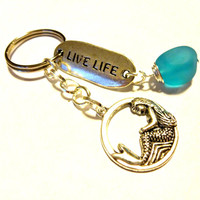 Mystical Mermaid Keychain, Wire Wrapped Sea Glass Key Chain, Live Life Gift, Inspiration Key Chain, Cute Car Accessory, Silver Key Ring,