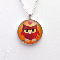 Wearable Art, Marsala Owl Pendant with necklace, original acrylic painting under glass, mini art, NOT A PRINT