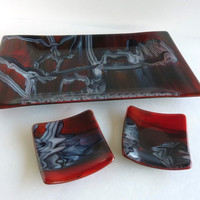 Fused Glass Sushi Set in Tomato Red, White and Black
