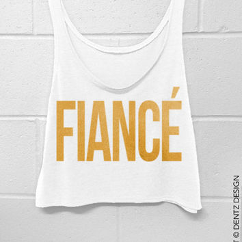 Fiance - White with Gold Crop Tank Top